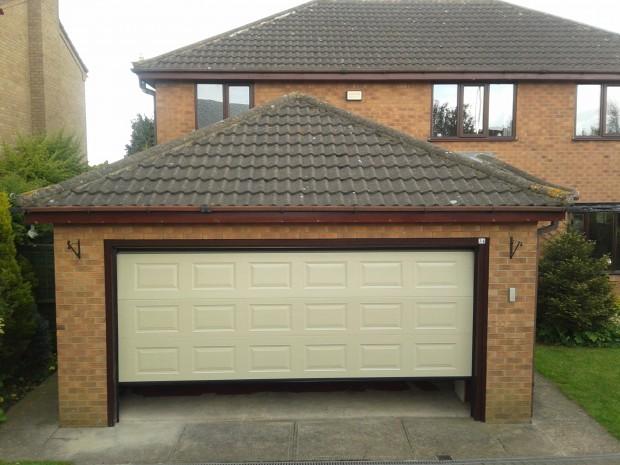Double Garage Door : Mushroom double sectional garage door